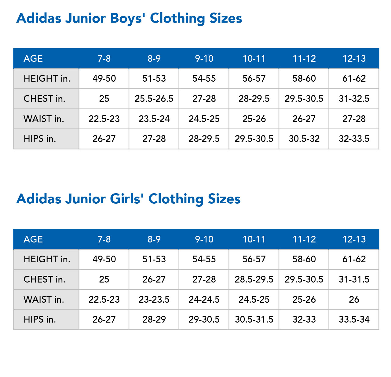 Adidas Size Chart - Sportech - Google Sites