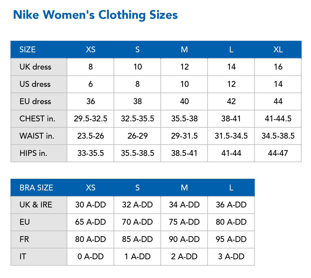 nike windrunner womens uk size chart