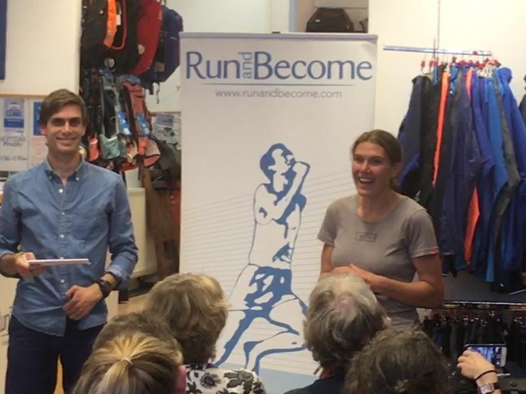 Jasmin Paris at Run and Become with author Jonny Muir