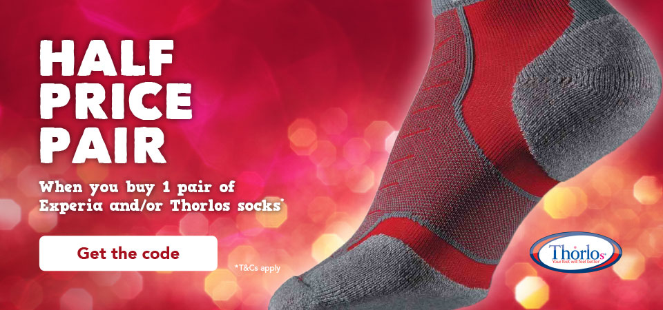 Half Price Pair when you buy 1 pair of Experia and/or Thorlo socks. T&Cs apply.