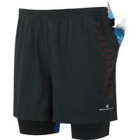 Men's Ronhill Infinity Fuel Twin Shorts Black/Orange/Blue