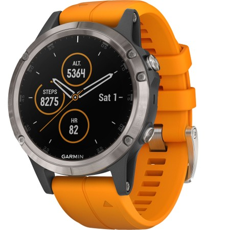 Garmin Fenix 5 Plus Sapphire, Titanium With Solar Flare Orange Band #1