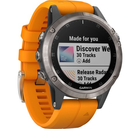Garmin Fenix 5 Plus Sapphire, Titanium With Solar Flare Orange Band #2